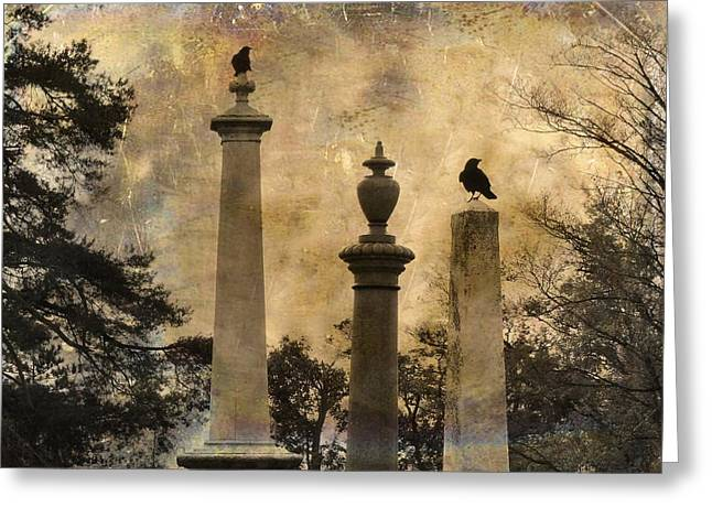 Two Crows Greeting Cards - Three Perches Two Crows Greeting Card by Gothicolors Donna Snyder