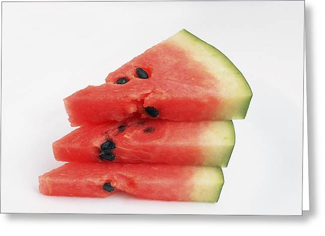 Watermelon Photographs Greeting Cards - Three Pieces Of Watermelon Greeting Card by Ron Nickel