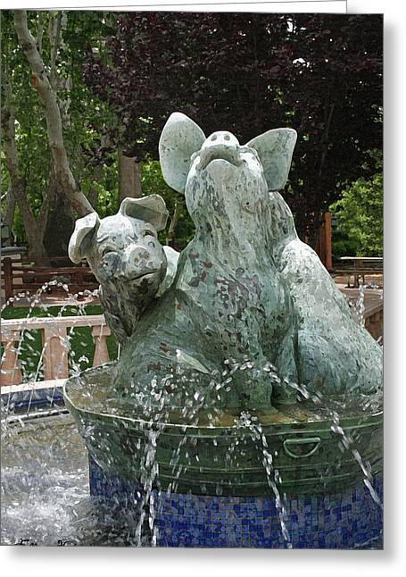 Pig Greeting Cards - Three Piggy Fountain Greeting Card by Ellen Henneke