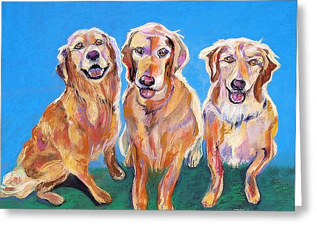 Playful Pastels Greeting Cards - Three Playful Goldens Greeting Card by Julie Maas