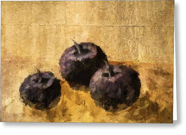 Tabletop Digital Art Greeting Cards - Three Plums Still Life Greeting Card by Michelle Calkins