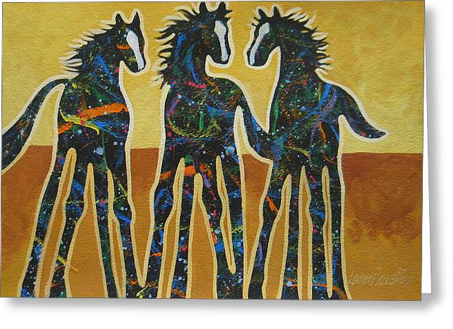 Arizona Contemporary Cowboy Greeting Cards - Three Ponies Greeting Card by Lance Headlee