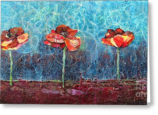Art Collages Greeting Cards - Three Poppies Greeting Card by Shadia Zayed