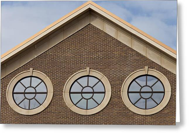 Cement Court Greeting Cards - Three Portal Windows Greeting Card by Heather Reeder
