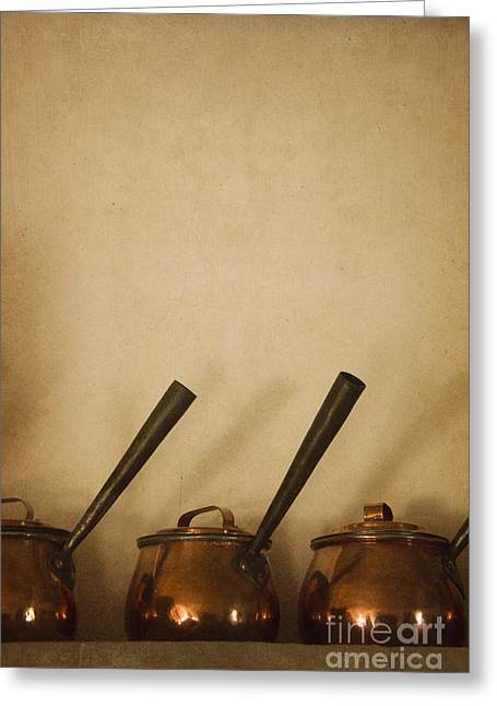 Brass Pot Greeting Cards - Three Pots Greeting Card by Margie Hurwich