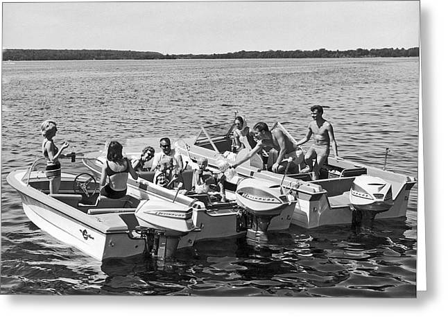 Three Power Boats Gather Together For Summer Boating Fun Greeting Card by Underwood Archives