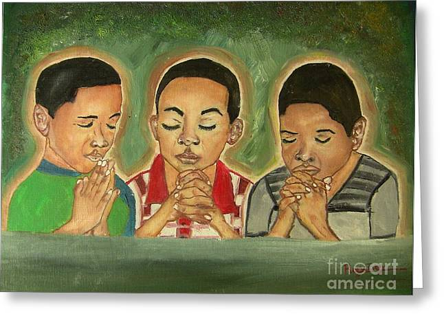 Boy Praying Greeting Cards - Three Praying Boys Greeting Card by Rory Ivey