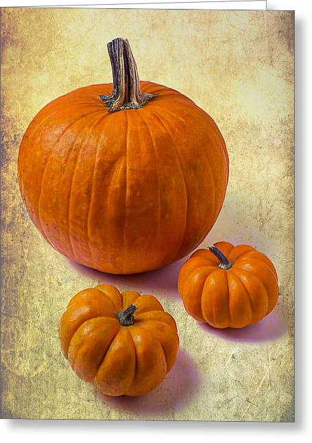 Pumpkins Greeting Cards - Three Pumpkins Greeting Card by Garry Gay