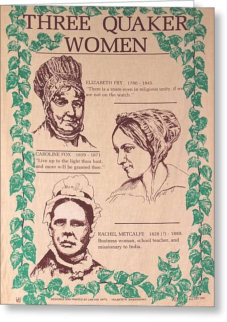 Quaker Greeting Cards - Three Quaker Women Greeting Card by Earl  Eells a