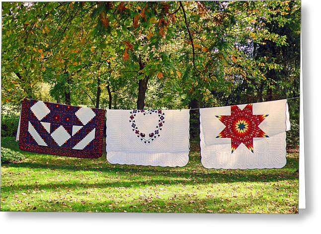 Three Quilts Greeting Card by Jean Hall