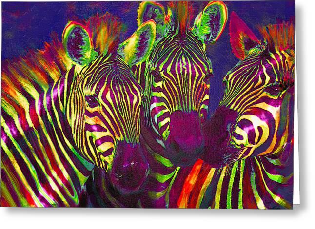 Three Rainbow Zebras Greeting Card by Jane Schnetlage