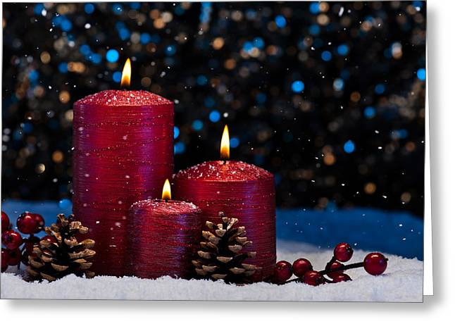 Candle Lit Greeting Cards - Three Red Candles in snow  Greeting Card by Ulrich Schade