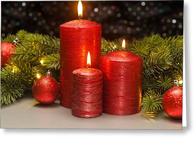 Candle Lit Greeting Cards - Three Red Candles Greeting Card by Ulrich Schade