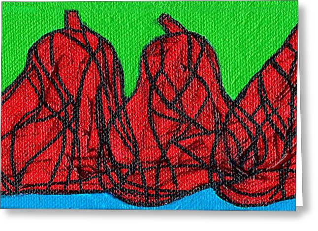 Stained Glass 3 Greeting Cards - Three Red Pears Greeting Card by Genevieve Esson