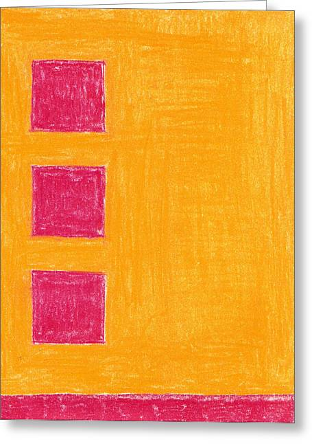 Ground Pastels Greeting Cards - Three Red Squares Greeting Card by Eric Forster