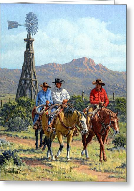 Arizona Cowboy Greeting Cards - Three Riders Greeting Card by Randy Follis