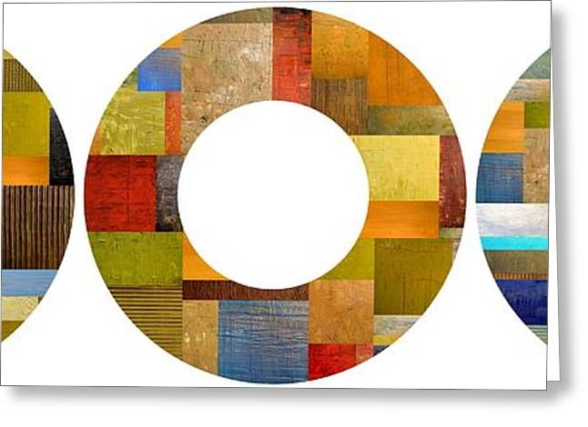 Geometric Art Greeting Cards - Three Rings 2.0 Greeting Card by Michelle Calkins