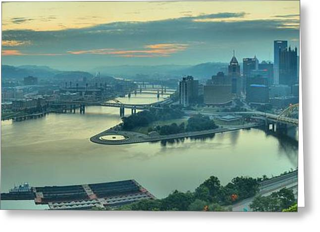 Three Rivers Morning Greeting Card by Adam Jewell