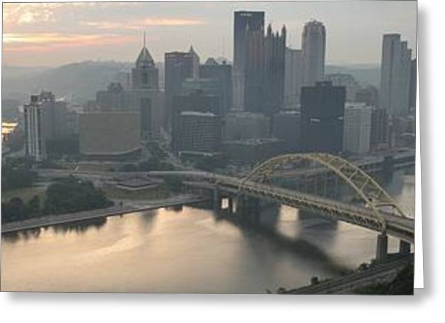 Incline Greeting Cards - Three Rivers Sunrise Panorama Greeting Card by Adam Jewell