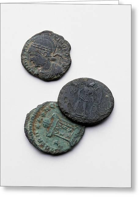 Three Roman Coins Greeting Card by Dorling Kindersley/uig