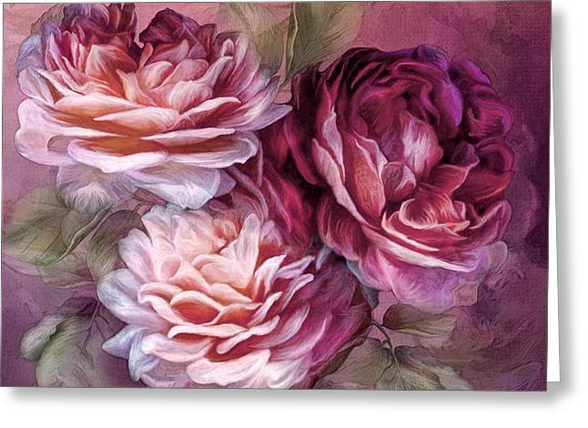 Pink Flower Prints Greeting Cards - Three Roses - Burgundy Greeting Card by Carol Cavalaris