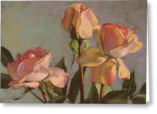 Floral Still Life Pastels Greeting Cards - Three Roses Greeting Card by Sarah Blumenschein
