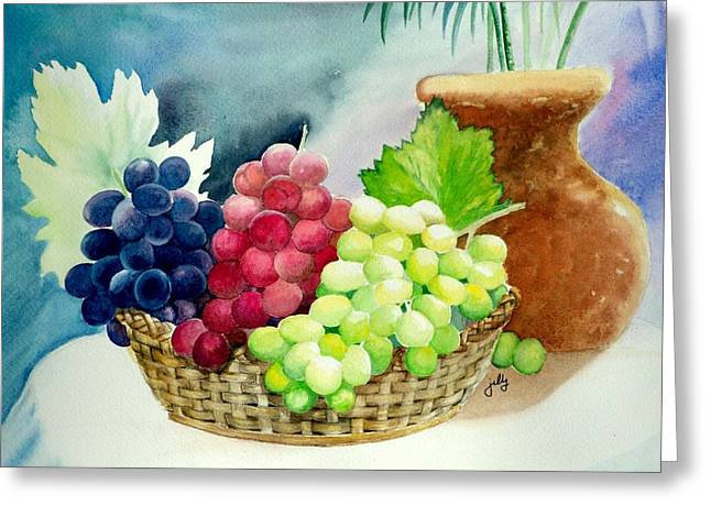 Concord Grapes Greeting Cards - Three Rounds Greeting Card by Jelly Starnes