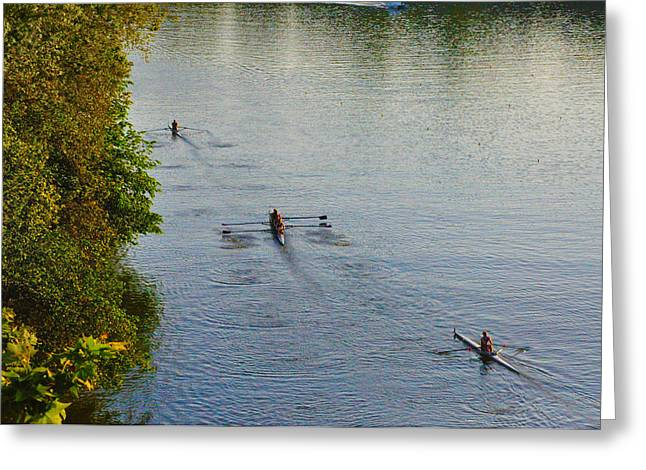 Rowing Crew Greeting Cards - Three Rowers along the Schuylkill Greeting Card by Bill Cannon