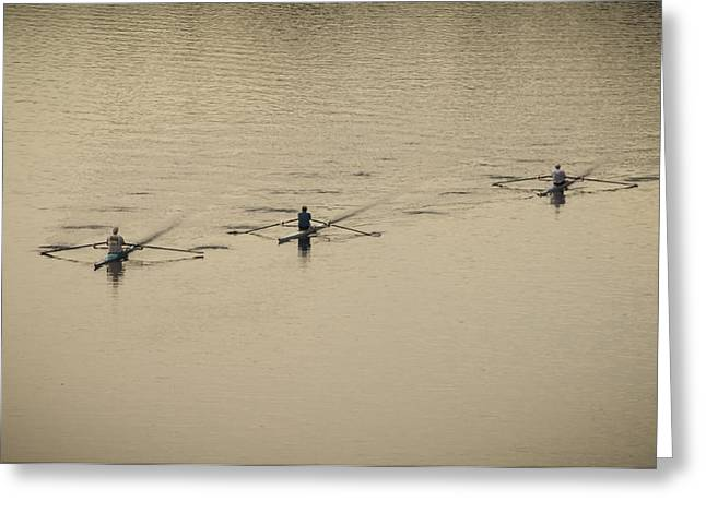 Bill Cannon Photography Greeting Cards - Three Rowers Greeting Card by Bill Cannon
