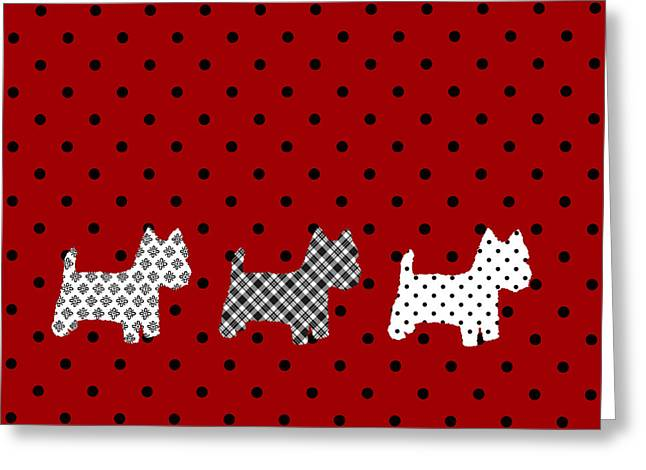 Westie Digital Art Greeting Cards - Three s Red and Black Polka Dots Throw Pillow Greeting Card by Natalie Kinnear