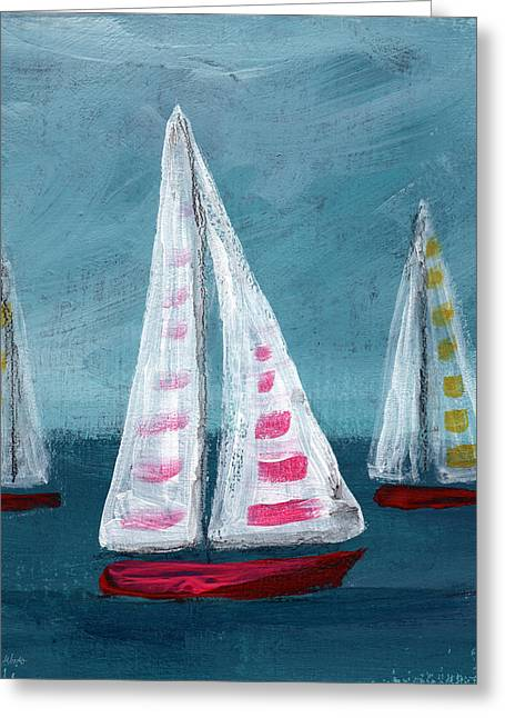 Blue Sailboat Greeting Cards - Three Sailboats Greeting Card by Linda Woods