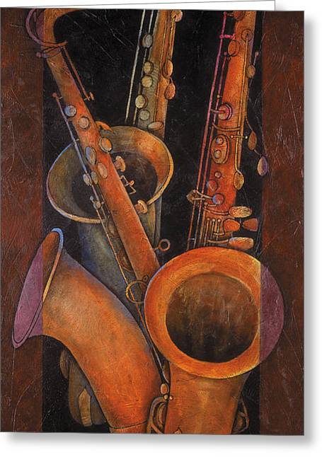Three Sax Greeting Card by Susanne Clark