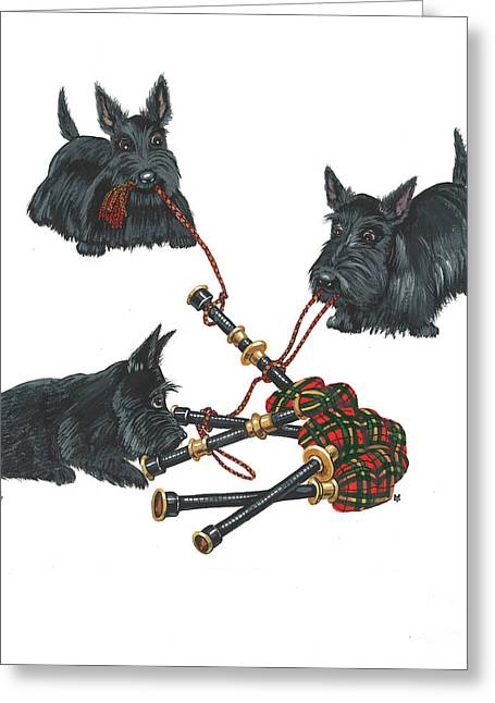 Scotty Art Greeting Cards - Three Scotties and the Pipes Greeting Card by Margaryta Yermolayeva