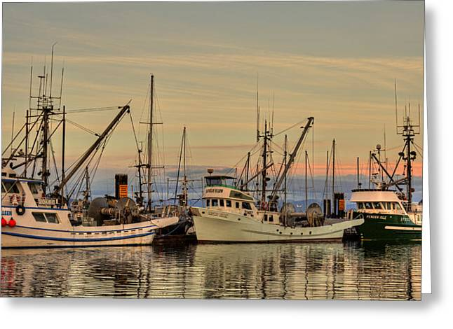 French Creek Marina Greeting Cards - Three Seiners Greeting Card by Randy Hall