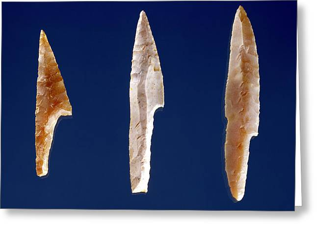 Tool Greeting Cards - Three Serrated Points, From Volgu, Solutrean Period, 20000-15000 Bc Flint Greeting Card by Prehistoric