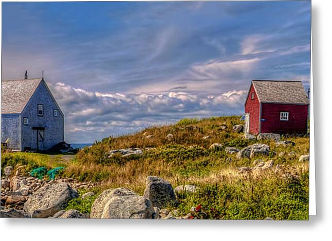 Sheds Greeting Cards - Three Shacks by the Sea Greeting Card by Ken Morris