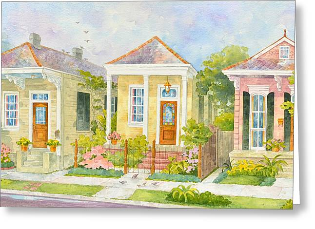 New Orleans Home Greeting Cards - Three Shotguns In A Row Greeting Card by Joyce Hensley