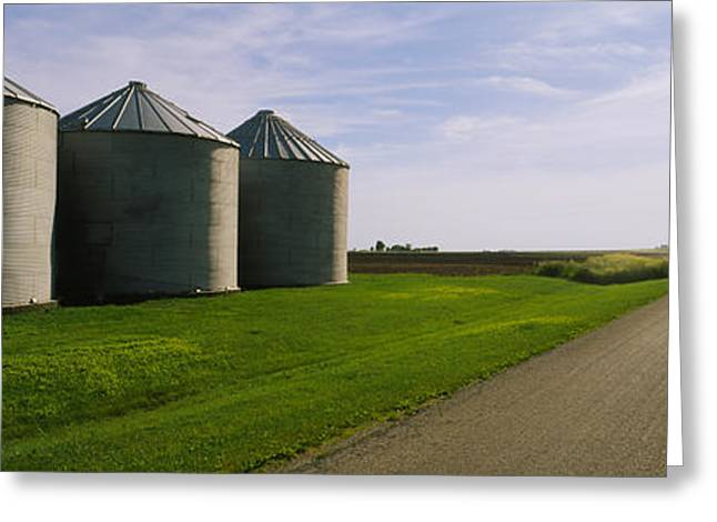 In Storage Greeting Cards - Three Silos In A Field Greeting Card by Panoramic Images