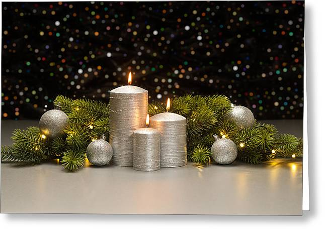Candle Lit Greeting Cards - Three Silver Candles Greeting Card by Ulrich Schade