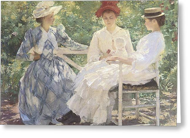 Summer Scene Greeting Cards - Three Sisters-A Study in June Sunlight Greeting Card by Edmund Charles Tarbell