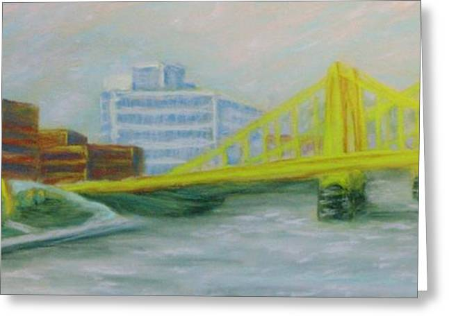 Pittsburgh Pirates Pastels Greeting Cards - Three Sisters at PNC Park Greeting Card by Joann Renner