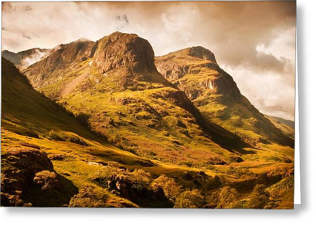 Best Sellers Greeting Cards - Three Sisters. Glencoe. Scotland Greeting Card by Jenny Rainbow