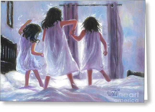 Vickie Wade Paintings Greeting Cards - Three Sisters Jumping on the Bed Greeting Card by Vickie Wade