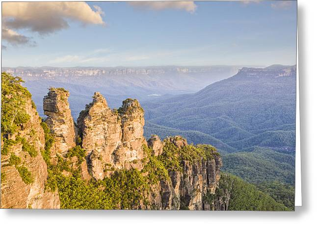 Echo Greeting Cards - Three Sisters Katoomba Australia Greeting Card by Colin and Linda McKie
