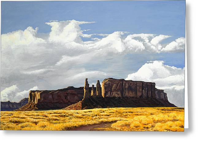Three Sisters Monument Valley Greeting Card by Timithy L Gordon