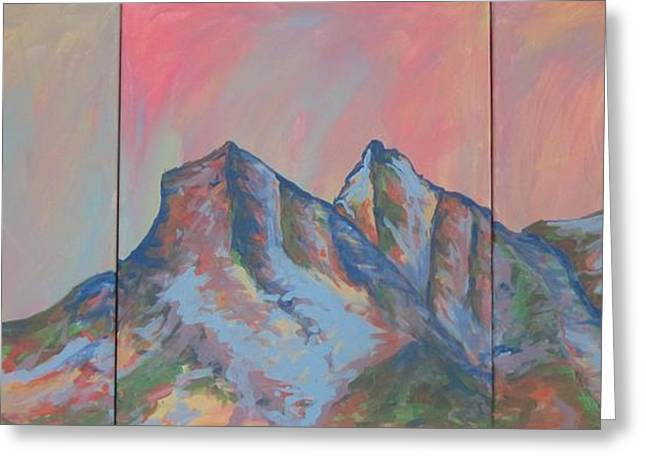 Cherie Sexsmith Greeting Cards - Three Sisters Mountians Alberta Greeting Card by Cherie Sexsmith