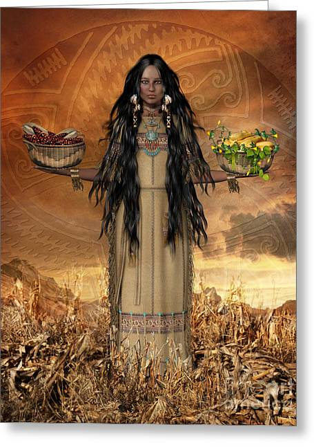 Native American Woman Greeting Cards - Three Sisters Greeting Card by Shanina Conway
