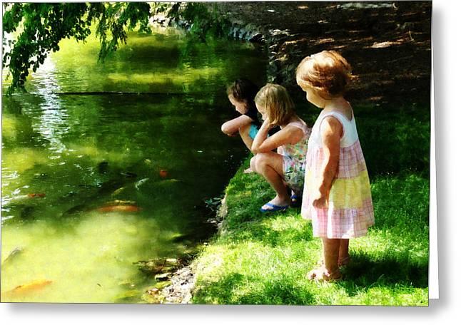 Ponds Greeting Cards - Three Sisters Watching Koi Greeting Card by Susan Savad