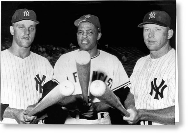 Three Slugging Outfielders Greeting Card by Underwood Archives
