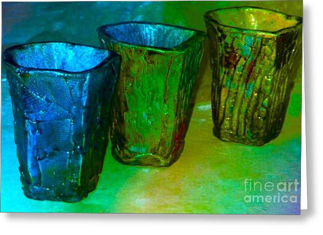 Raku Ceramics Greeting Cards - Three Smoke Fired Vases Greeting Card by Joan-Violet Stretch
